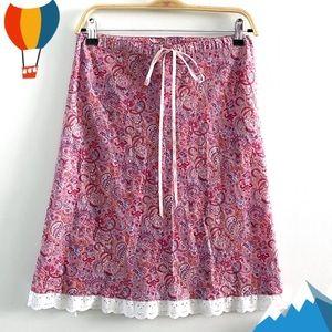 Vintage 90's paisley 100% cotton drawstring skirt, pink